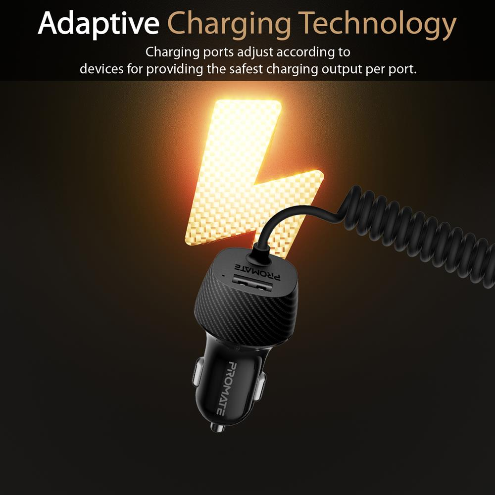 PROMATE Voltrip-i, Car USB & Lighting Charger