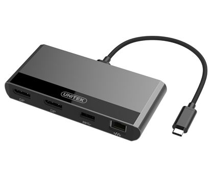 Picture of UNITEK Thunderbolt 3 Multiport Hub. 2x DP, 1x USB3.0, 1x GE Converter.