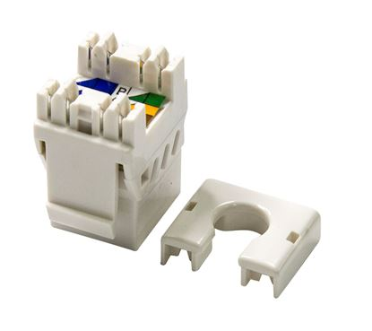 Picture of DYNAMIX Slimline Cat6A UTP jack. Colour White