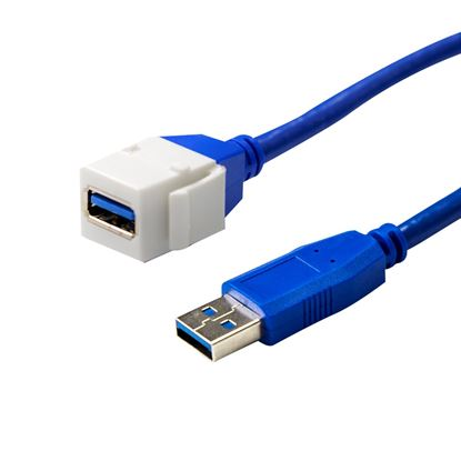 Picture of DYNAMIX USB3.0 Keystone Jack Type-A to Male Type-A Connector.