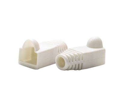 Picture of DYNAMIX WHITE RJ45 Strain Relief Boot (6.0mm Outside Diameter). 20pk