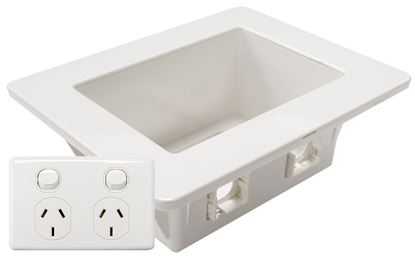 Picture of DYNAMIX Recessed Wall Box with 2x AMDEX style outlets. Incl. 2x ports