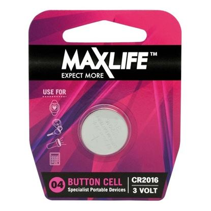 Picture of MAXLIFE CR2016 Lithium Button Cell Battery. 1Pk.