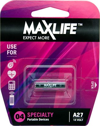 Picture of MAXLIFE A27 Alkaline 12V Battery. 1Pk.