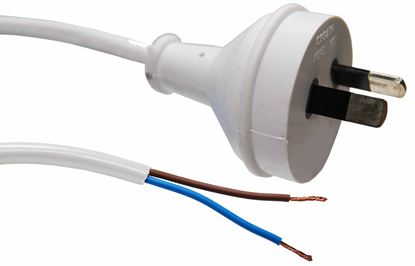 Picture of DYNAMIX 2M 2-Pin Plug to Bare End, 2 Core 0.75mm Cable, White Colour,