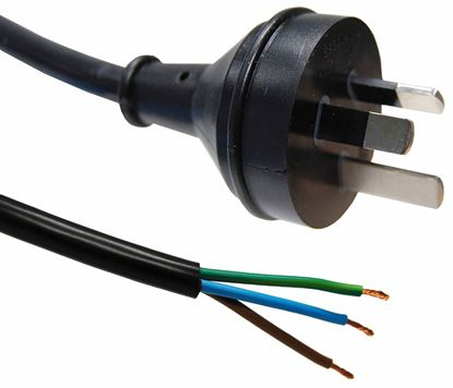 Picture of DYNAMIX 2M 3-Pin Plug to Bare End, 3 Core 1mm Cable, Black Colour,