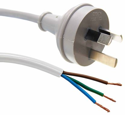 Picture of DYNAMIX 2M 3-Pin Plug to Bare End, 3 Core 1mm Cable, White Colour SAA
