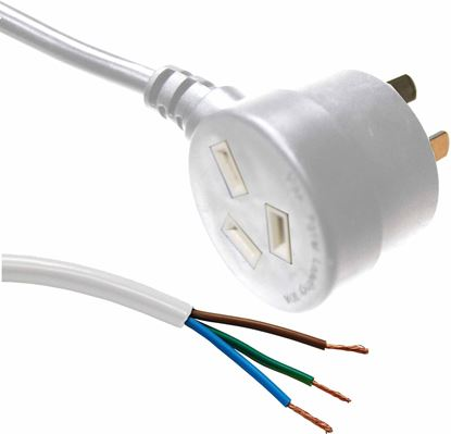 Picture of DYNAMIX 3M 3-Pin Tapon Plug to Bare End, 3 Core 1mm Cable, White
