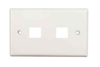 Picture of DYNAMIX Dual Port Face Plate for 110/Keystone Jacks.