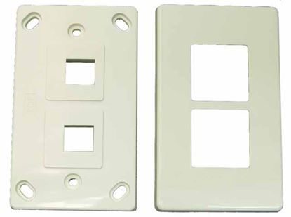 Picture of DYNAMIX Dual Port RJ45 Keystone Face Plate - 2x piece. Horizontal
