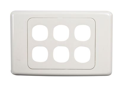 Picture of AMDEX Six Port RJ45 Face Plates. AMDEX style.