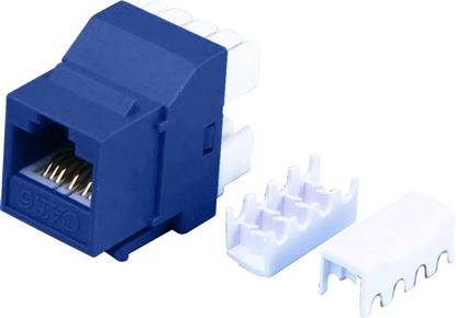 Picture of DYNAMIX Cat6 BLUE Keystone RJ45 Jack for 110 Face Plate. T568A/