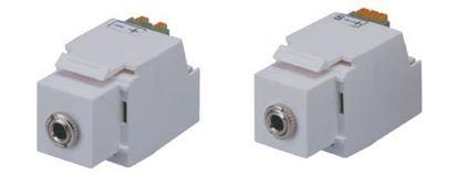 Picture of DYNAMIX Keystone Stereo Socket for HWS range. White Colour.