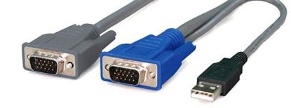 Picture of REXTRON 5m, 2-to-1 USB KVM Switch Cable. All in 1 x HD DB15 Male to