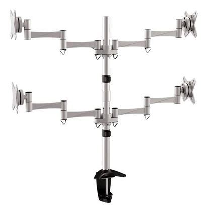 Picture of BRATECK 13'-27' Quad monitor desk mount. Rotate, tilt and swivel.