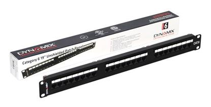 "Picture of DYNAMIX 24 Port 19"" Cat6 UTP Patch Panel with plastic labelling"