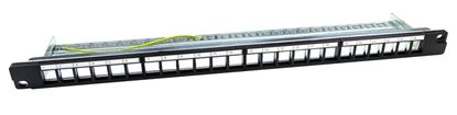 "Picture of DYNAMIX 19"" 24 Port 0.65U Unloaded Keystone Patch Panel"