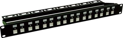 Picture of DYNAMIX 16 Port Unloaded Patch Panel, Shuttered Keystone Inserts,