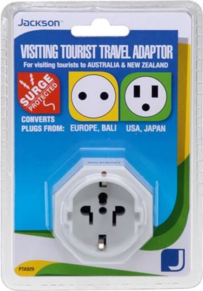 Picture of JACKSON 1x Outlet Travel Adaptor with Surge Protection. Converts US,