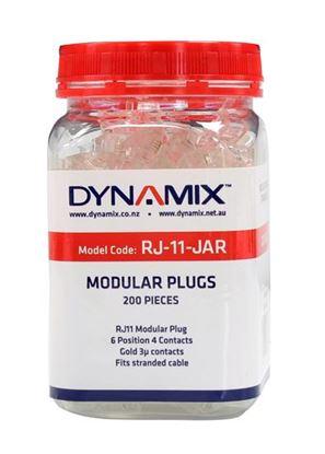 Picture of DYNAMIX RJ11 Plug 200pc Jar, 6P4C Modular Plug. 3 micron.