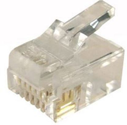 Picture of DYNAMIX RJ12 Plug 200pc Jar, 6P6C Modular for SOLID Cable.