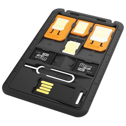 Picture of PROMATE 8-in-1 Sim Card Holder. 3x Sim card converters & Storage slots