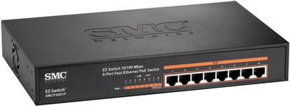 Picture of SMC 8 Port 10/100 Fast Ethernet PoE Switch. PoE Power Budget: 105W.