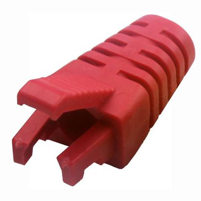 Picture of DYNAMIX RED RJ45 Strain Relief Boot - Slimline with Clip Protector