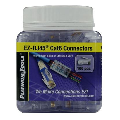 Picture of PLATINUM TOOLS Cat6 EZ-RJ45 Plug. Easy install RJ45 plug for Cat6