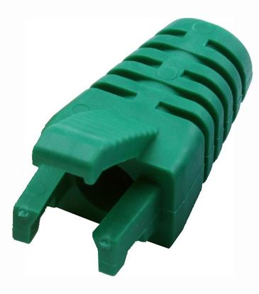 Picture of DYNAMIX GREEN RJ45 Strain Relief Boot - Slimline with Clip Protector