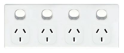 Picture of TRADESAVE 4 Gang 10A Horizontal Power Point. Removable Cover.