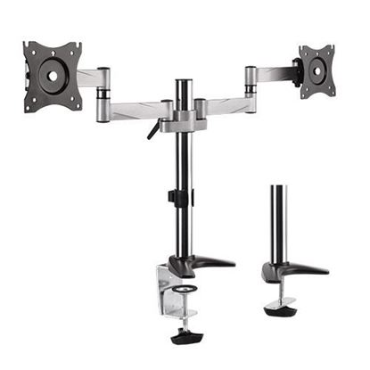 Picture of BRATECK 13'-27' Dual monitor desk mount. Max load: 8kg per arm.
