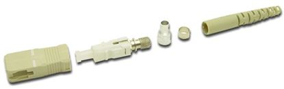 Picture of DYNAMIX SC Fibre Multimode Ceramic Connector. Supplied with a 3mm boot