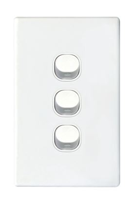 Picture of TRADESAVE Slim 16A 2-Way Vertical 3 Gang Switch. Moulded in Flame