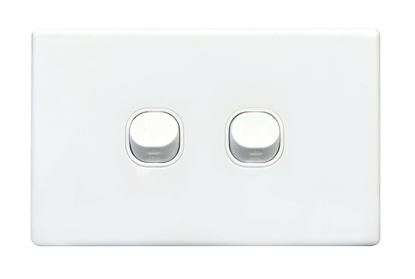 Picture of TRADESAVE Slim Switch Plate ONLY. 2 Gang. Accepts all Tradesave