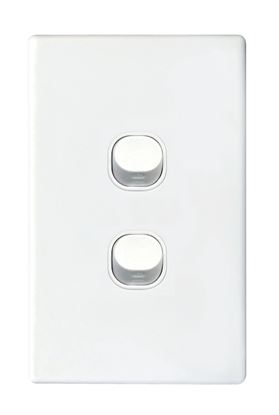Picture of TRADESAVE 16A 2-Way Vertical 2 Gang Switch. Moulded in Flame Resistant