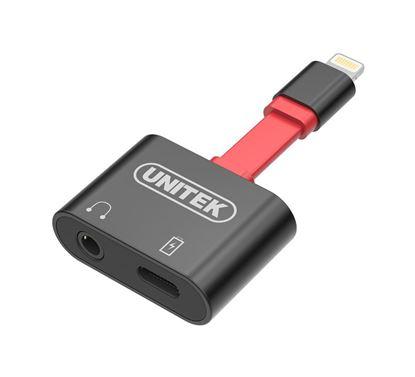 Picture of UNITEK Dual Function Lightning Splitter. Provides Audio & Charging