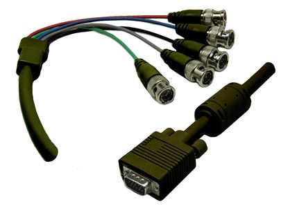 Picture of DYNAMIX 2m VGA to BNC Cable with Ferrite Core. HD DB15 Male to