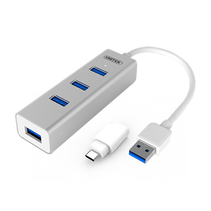 Picture of UNITEK Universal USB 4-Port Hub. Stylish & Elegant Aluminium Case.