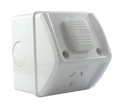 Picture of TRADESAVE Weatherproof Single IP66 Outlet. Grey Heavy Duty