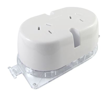 Picture of TRADESAVE Double Plug Base Socket. (4 TERMINALS). Bright white. Heat