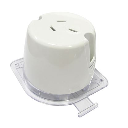 Picture of TRADESAVE Single Plug Base Socket. (4 TERMINALS). Bright white. Heat