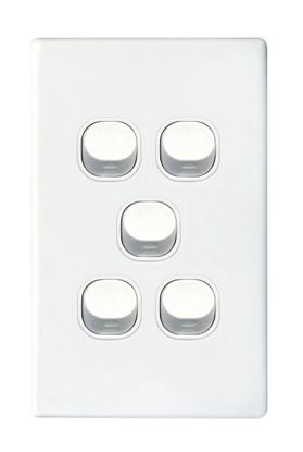 Picture of TRADESAVE Slim 16A 2-Way Vertical 5 Gang Switch. Moulded in Flame