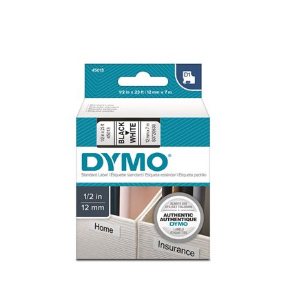 Picture of DYMO Genuine D1 Label Cassette Tape 12mm x 7m BLACK ON WHITE
