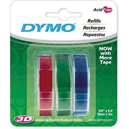 Picture of DYMO Genuine Embossing Labels. 3 Colour Multi-Pack (Blue, Red,