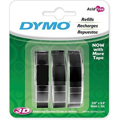 Picture of DYMO Genuine Embossing Label Tape. 3PK, 9mm x 3m. Use them indoors or