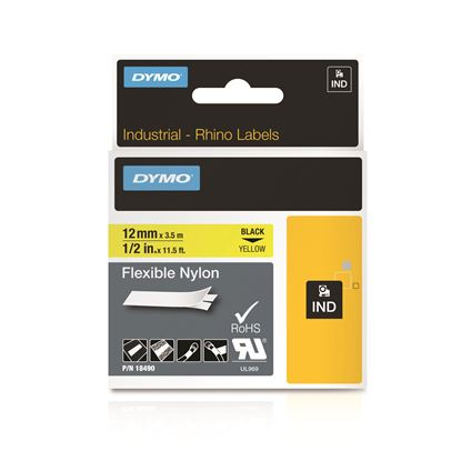 Picture of DYMO Genuine Rhino Industrial Labels-Flexible Nylon 12mm Black on
