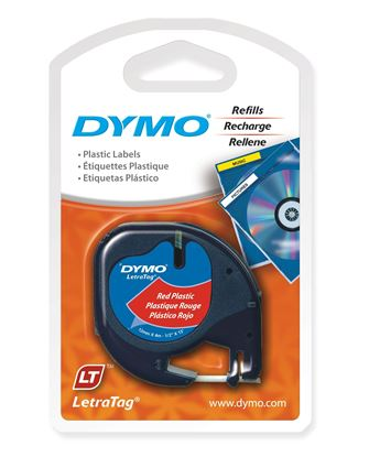 Picture of DYMO Genuine LetraTag Labeller Plastic Tape. 12mm Black on Red.