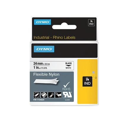Picture of DYMO Genuine Rhino Industrial Label -Flexible Nylon. 24mm Black on