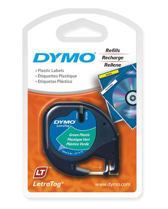 Picture of DYMO Genuine LetraTag Plastic Labeller Tape. 12mm x 4m Green.
